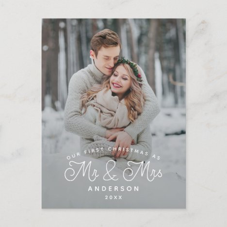 Our First Christmas Mr and Mrs Wedding Photo Holiday Postcard