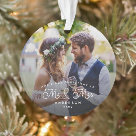 Our First Christmas Mr and Mrs Wedding Photo Ornament