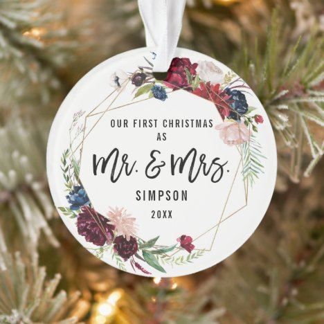 Our First Christmas Mr & Mrs | First Married Photo Ornament