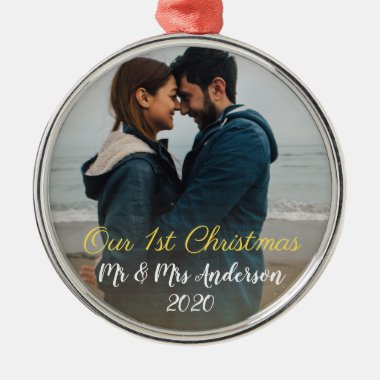 Our First Christmas Mr Mrs Photo Round Metal Ornament