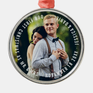 """""""Our First Christmas"""" Newlyweds Photo Metal Ornament"""