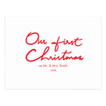 Our First Christmas   Newlyweds Simple Christmas Postcard