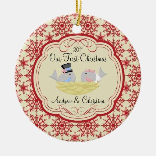 Our First Christmas Ornament Bride Groom Birds