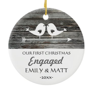 Christmas Themed Our first Christmas ornament - love birds - rustic