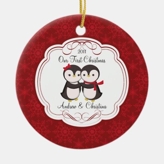 our first christmas ornament penguin couple zazzle com