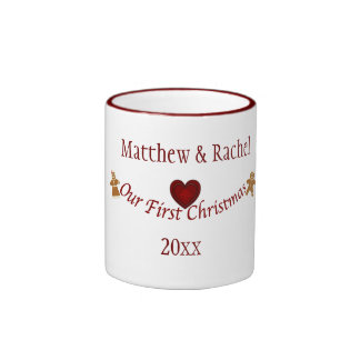 Our First Christmas-Personalize Name+Year Ringer Mug