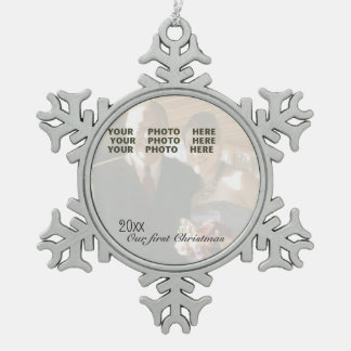 Our First Christmas Personalized Photo Snowflake Snowflake Pewter Christmas Ornament