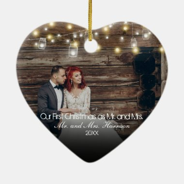 Our First Christmas Photo Mason Jars String Lights Ceramic Ornament