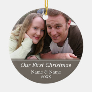 Our First Christmas Photo - Single Sided Ceramic Ornament