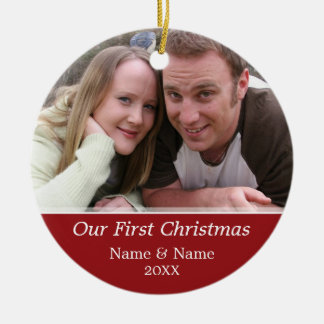 Our First Christmas Photo - Single Sided Double-Sided Ceramic Round Christmas Ornament