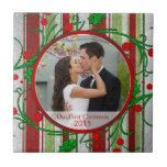 Our First Christmas Photo Template Tile or Trivet