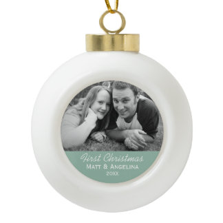 Our First Christmas Photo - Wedding or Engagement Ceramic Ball Christmas Ornament