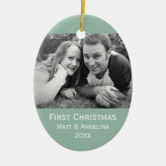 Our First Christmas Photo - Wedding or Engagement Double-Sided Oval Ceramic Christmas Ornament