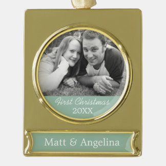 Our First Christmas Photo - Wedding or Engagement Gold Plated Banner Ornament