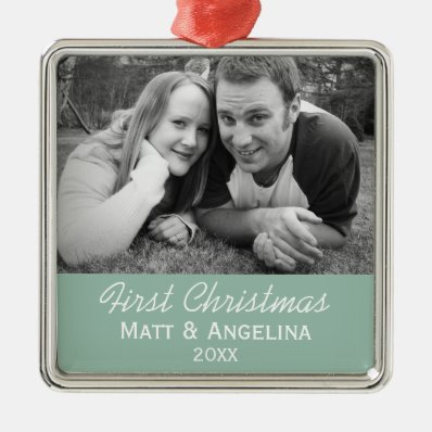 Our First Christmas Photo - Wedding or Engagement Metal Ornament