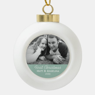 Our First Christmas Photo - Wedding or Engagement Ornament