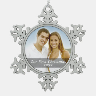 Our First Christmas Photo with Custom Year Snowflake Pewter Christmas Ornament