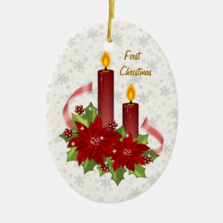 Our First Christmas Poinsettia & candles Ornament