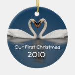 Our First Christmas Pretty Swans Double-Sided Ceramic Round Christmas Ornament