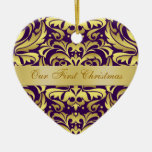 Our First Christmas Purple Gold Damask Ornament