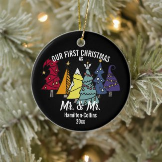 Our First Christmas Rainbow Pride Tree Personalize Ceramic Ornament