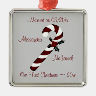 """Our First Christmas"" - Red Candy Cane [b] Metal Ornament"