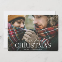 Our first christmas red plaid photo card