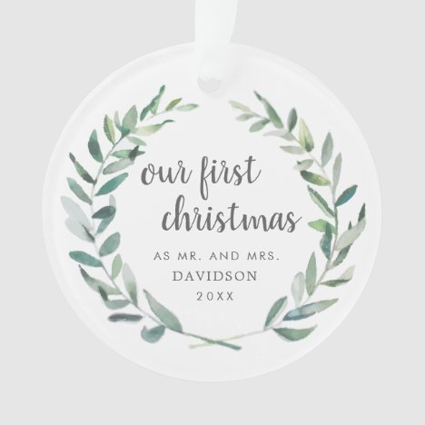 Our First Christmas Rustic Greenery Newlywed Photo Ornament