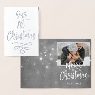 Our First Christmas Silver Foil Photo Card