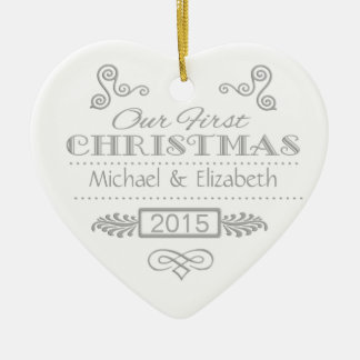 Our First Christmas Silver on White Ceramic Ornament