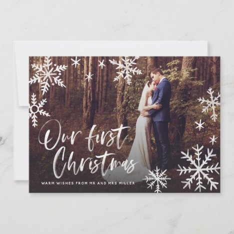 Our First Christmas Snowflake Newlywed Photo Holiday Card