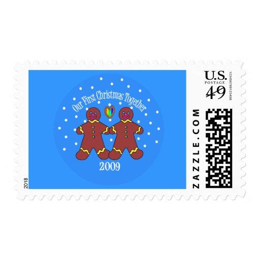 Our First Christmas Together 2009 (GLBT Men) Postage Stamp