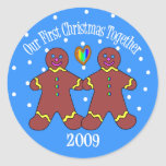 Our First Christmas Together 2009 (GLBT Men) Classic Round Sticker