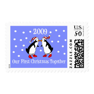 Our First Christmas Together 2009 (Penguins) Postage
