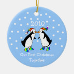 Our First Christmas Together 2010 (GLBT Penguins) Ceramic Ornament