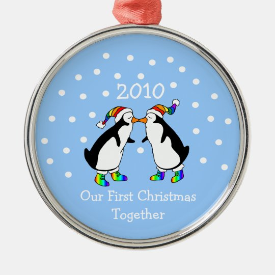 Our First Christmas Together 2010 (GLBT Penguins) Metal Ornament