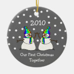 Our First Christmas Together 2010 (GLBT Snowmen) Double-Sided Ceramic Round Christmas Ornament