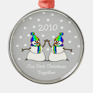 Our First Christmas Together 2010 (GLBT Snowmen) Metal Ornament