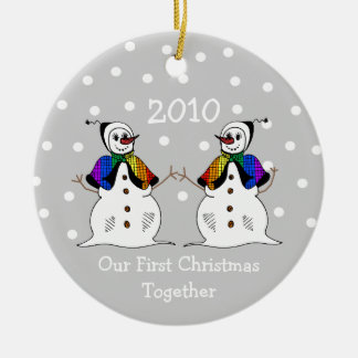Our First Christmas Together 2010 (GLBT Snowwomen) Ceramic Ornament