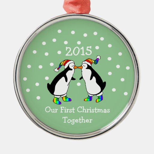 Our First Christmas Together 2015 (LGBT Penguins) Round Metal Christmas Ornament