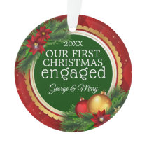 Our First Christmas Together Engaged Photo on Back Ornament