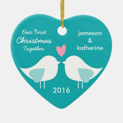 Our first christmas together love birds ornament zazzle