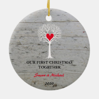 Our first Christmas together love tree driftwood Ceramic Ornament