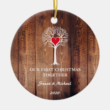 Our first Christmas together love tree rustic wood Ceramic Ornament