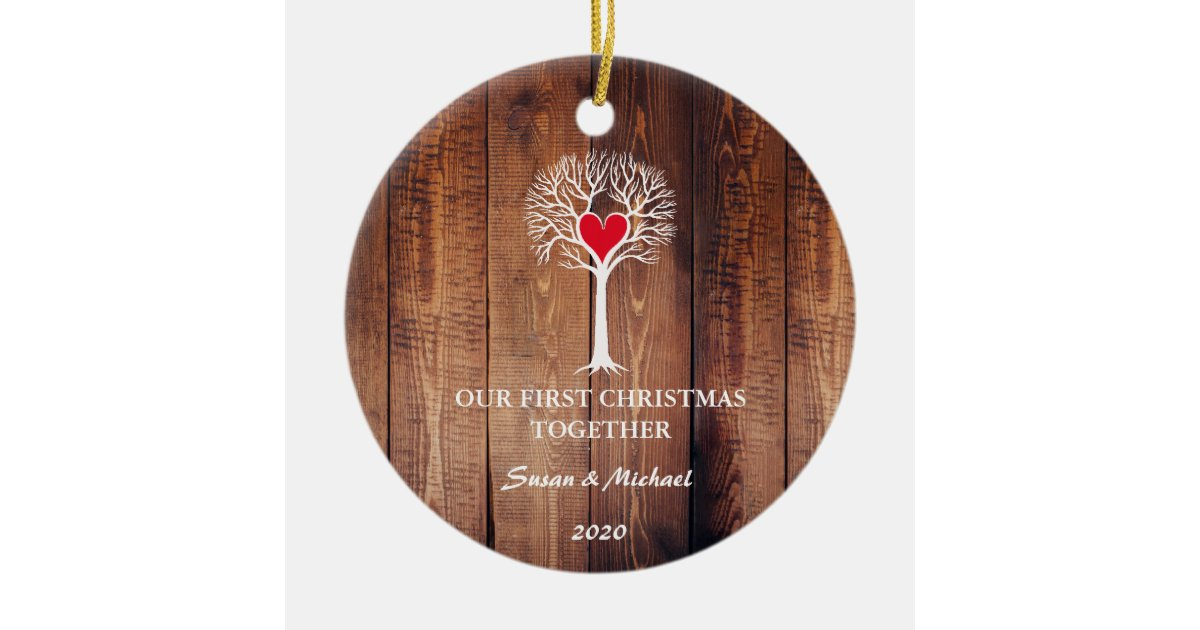 Wine First Christmas Together Ornament 2020 Our first Christmas together love tree rustic wood Ceramic Ornament