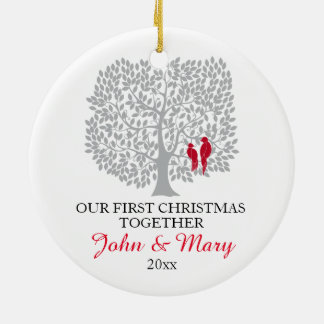 Our first Christmas together ornament, love birds Ceramic Ornament