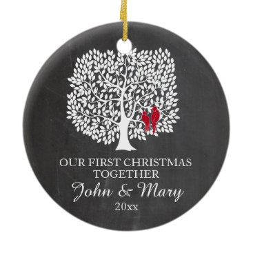 Christmas Themed Our first Christmas together ornament, love birds Ceramic Ornament