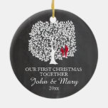 Our first Christmas together ornament, love birds Double-Sided Ceramic Round Christmas Ornament