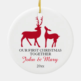 Our first Christmas together ornament, love deers Ceramic Ornament