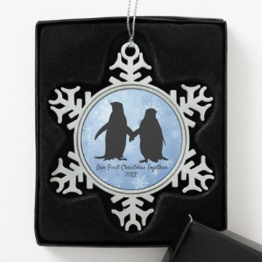 Our First Christmas Together Penguins Snowflake Pewter Christmas Ornament